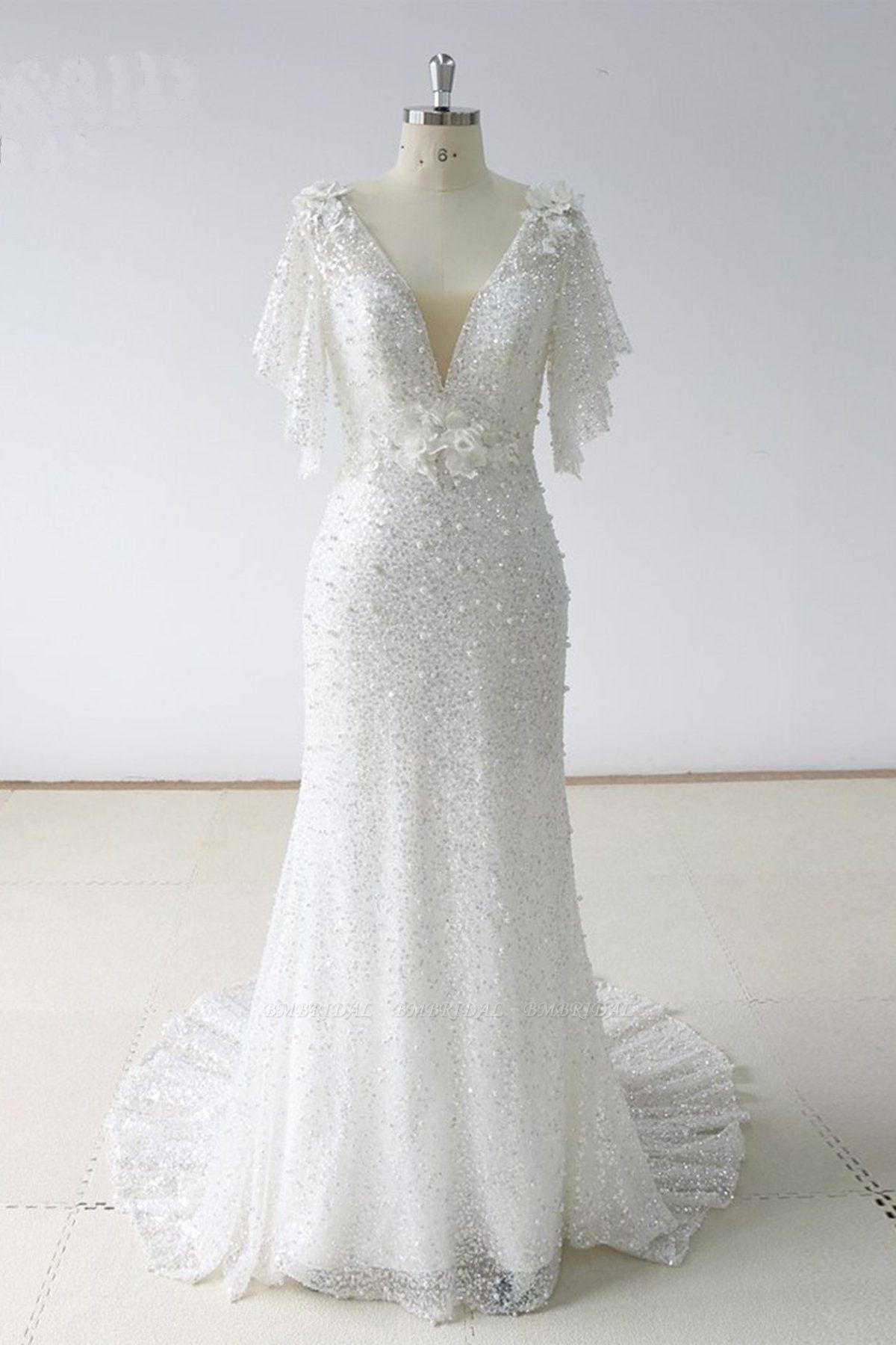 BMbridal Elegant Stunning Sequins White Tulle Wedding Dress Sweep Train Mermaid Short Sleeve Bridal Gowns On Sale