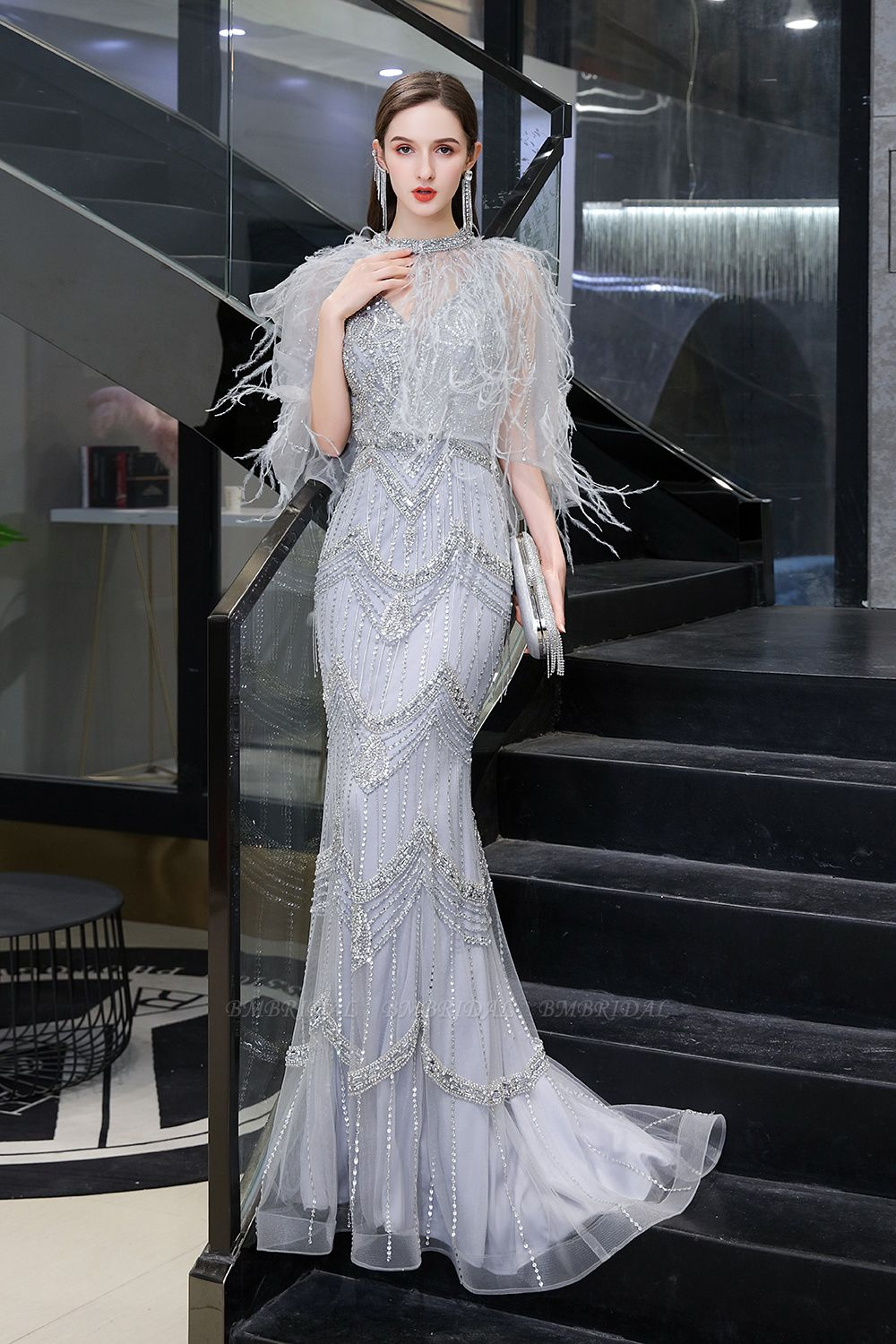 Luxurious V-Neck Mermaid Beadings Prom Dress Long With Scarf