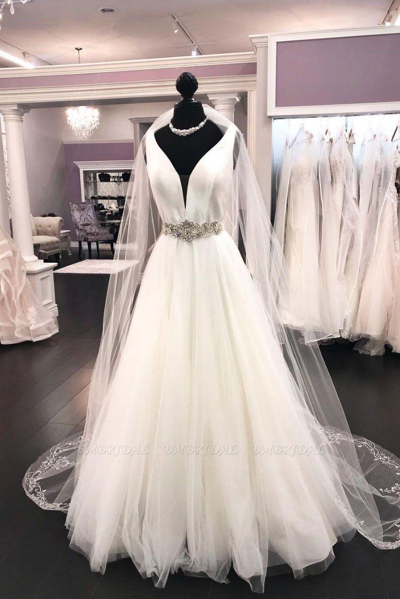 BMbridal Elegant White Satin Tulle V-Neck Wedding Dress Long Halter Bridal Gowns On Sale
