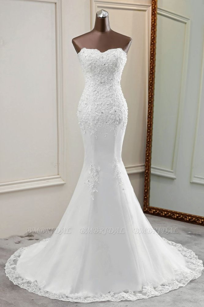 BMbridal Chic Strapless Lace Appliques White Mermaid Wedding Dresses with Beadings Online