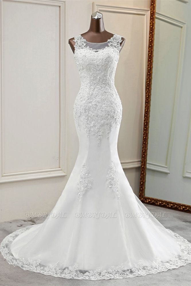 Stunning Jewel Sleeveless White Wedding Dresses White Mermaid Beadings Bridal Gowns