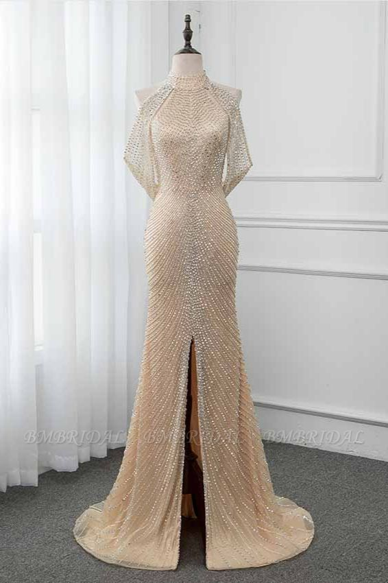 BMbridal Sparkly Crystals High-Neck Prom Dresses with Front Slit Online