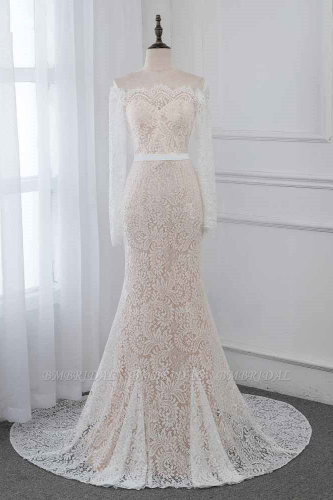Boho Off-the-Shoulder Champagne Wedding Dresses Long Sleeves Mermaid Appliques Bridal Gowns