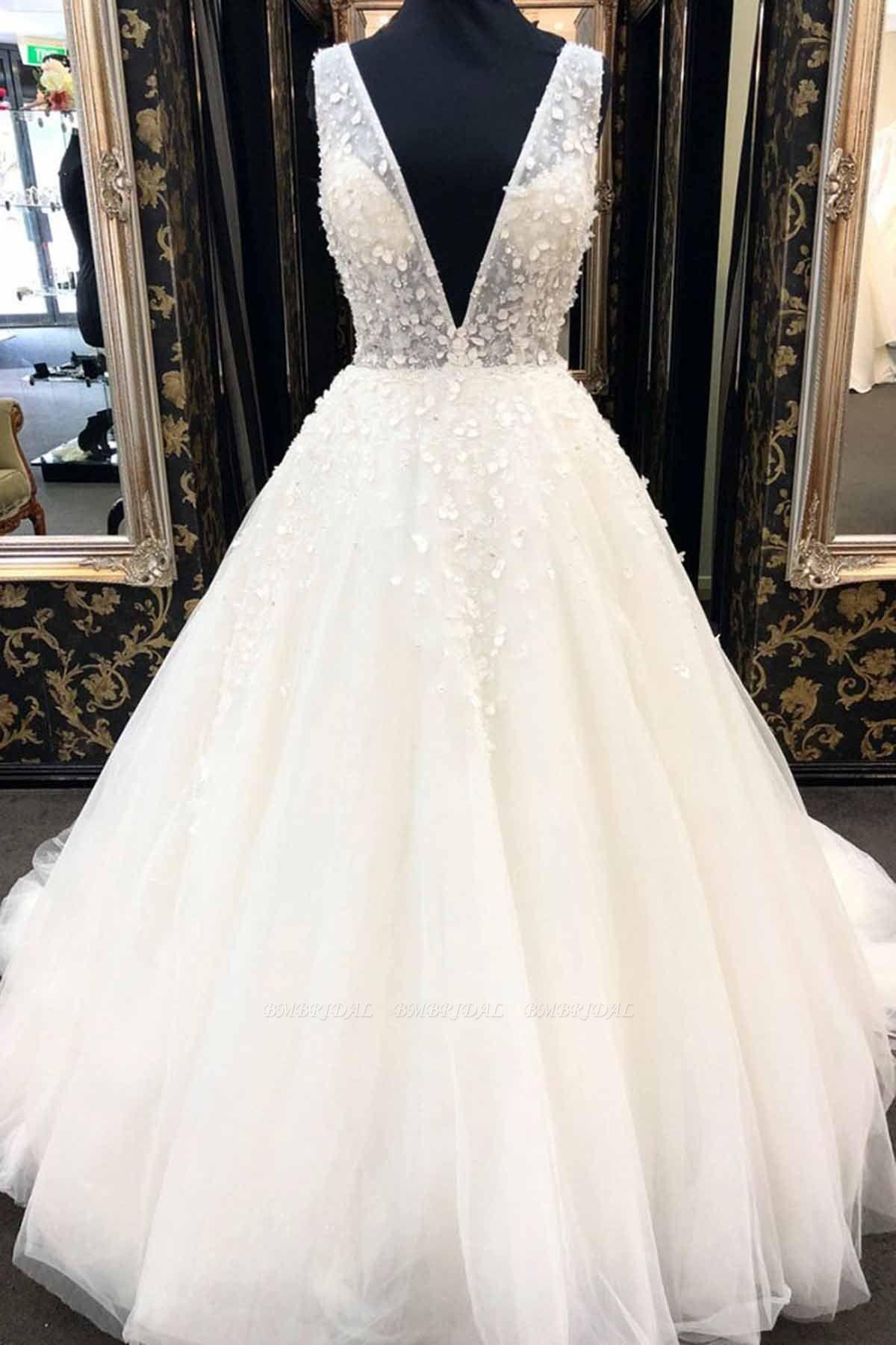 AffordableWhite Tulle V-Neck Long Wedding Dress A-Line Applqiues Bridal Gowns On Sale