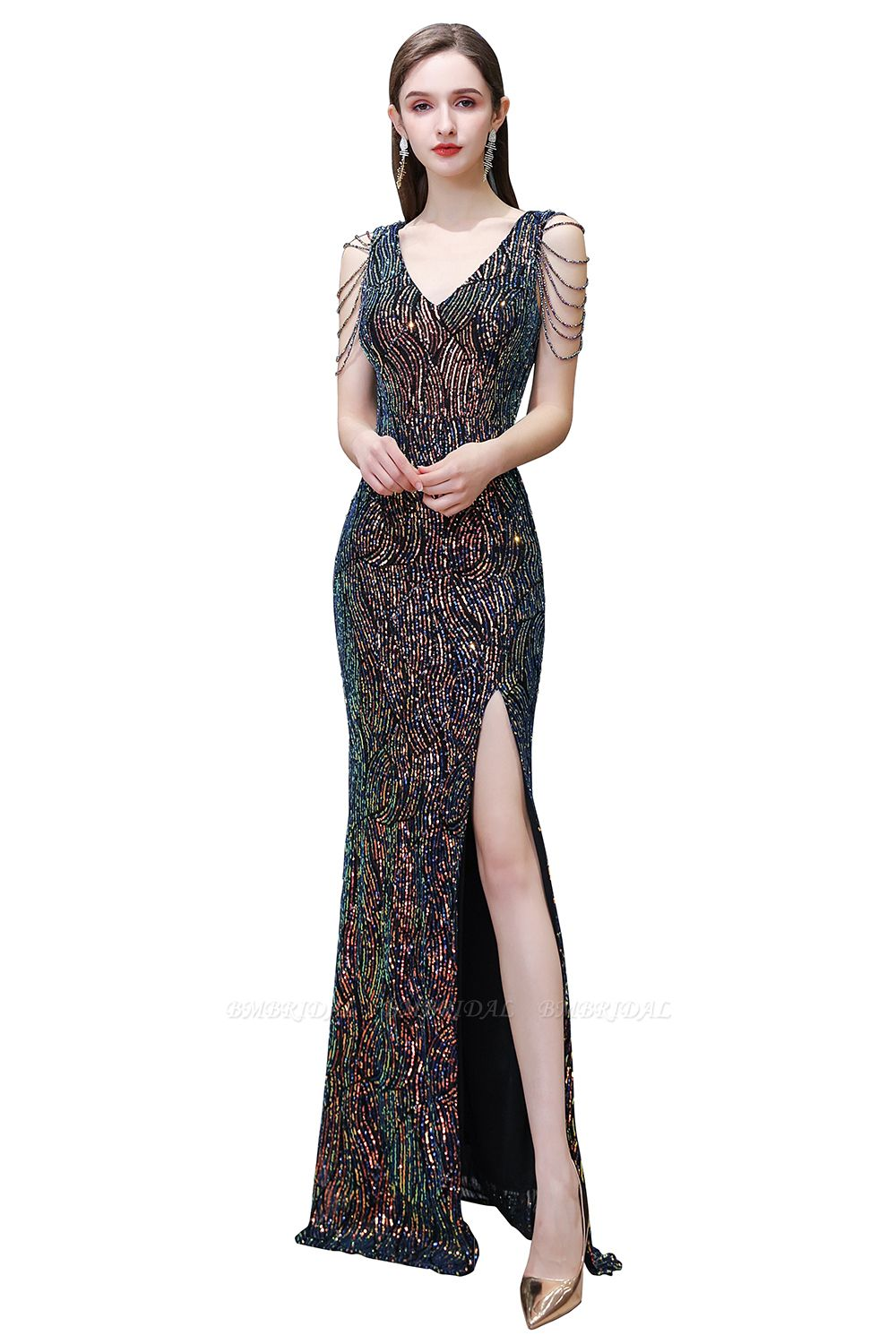 BMbridal Sexy V-Neck Sequins Prom Dress With Split Long Evening Gowns