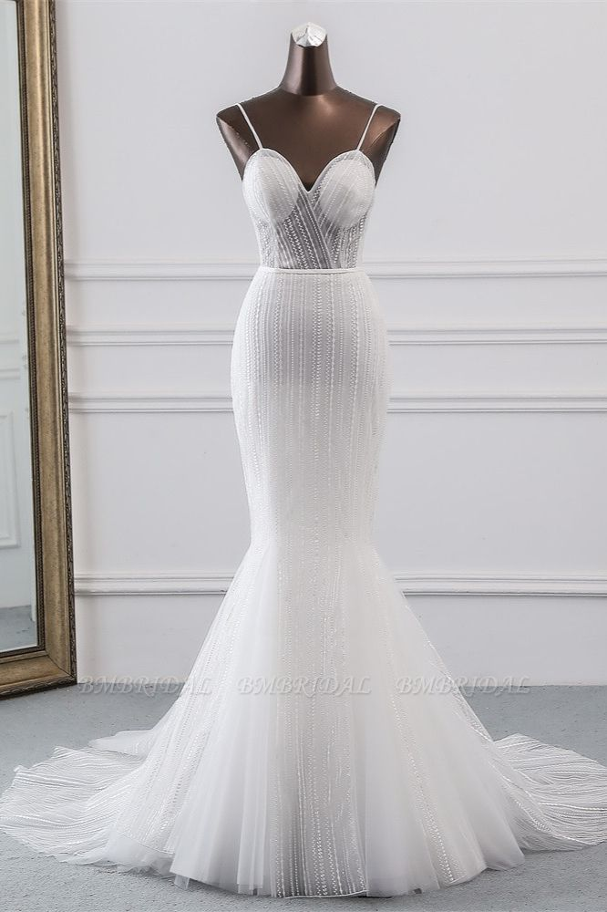 BMbridal Sexy Tulle Spaghetti Straps Mermaid White Wedding Dresses with Rhinestones Online