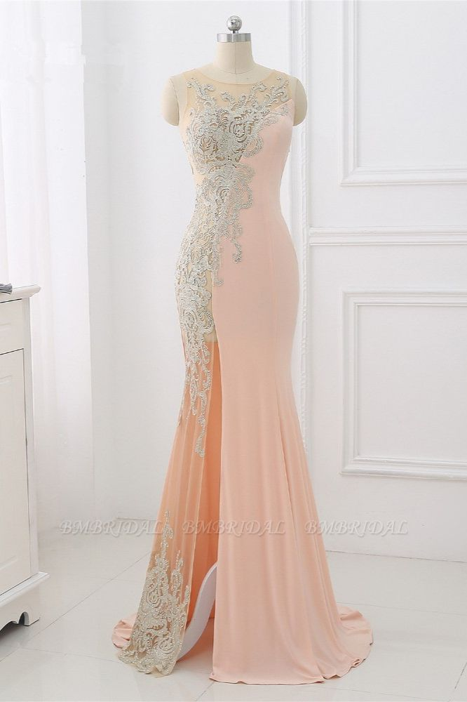 Affordable Jewel Appliques Sleeveless Prom Dresses with Front Slit Online