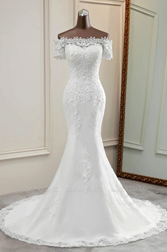 Gorgeous Off-the-Shoulder Lace Mermaid Wedding Dresses Short Sleeves Rhinestons Bridal Gowns