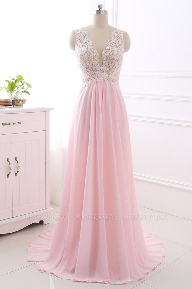 Elegant A-Line V-Neck Pink Chiffon Prom Dresses with Ruffles Online
