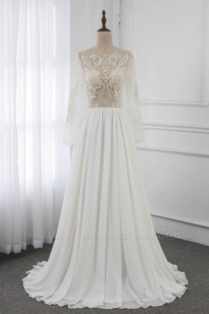 BMbridal Affordable Jewel Chiffon Ruffles Wedding Dresses Lace Top Long Sleeves Bridal Gowns Online