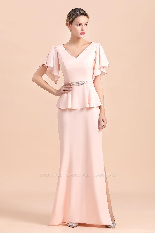BMbridal Glamorous V-Neck Front Slit Mother of Bride Dresses with Beadings Sash