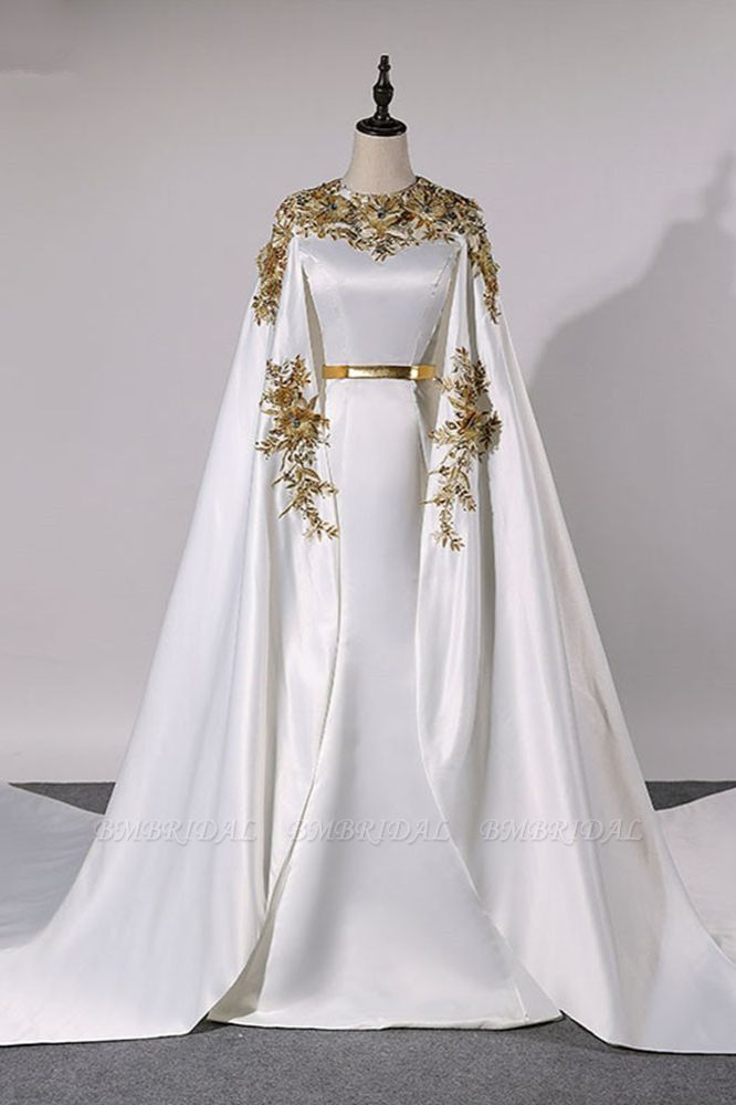 Elegant Satin Jewel Appliques Long Prom Dresses with Sash Online