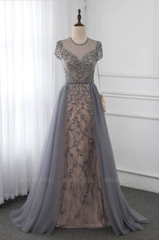 Stylish Jewel Appliques Short Sleeves Prom Dresses with Rhinestone Online