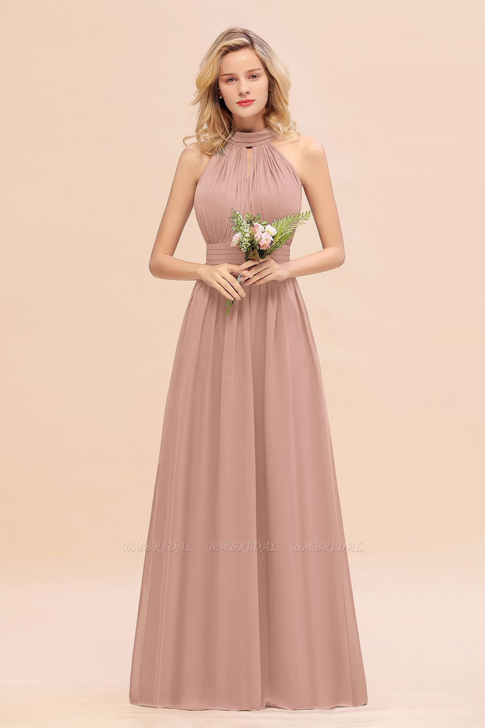 BMbridal Glamorous High-Neck Halter Bridesmaid Affordable Dresses with Ruffle