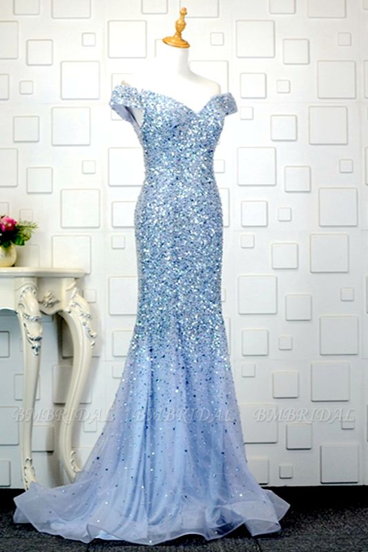 Glamorous Off-the-Shoulder Blue Mermaid Prom Dresses with Rhinestones On Sale