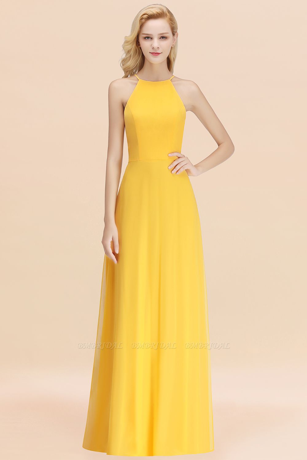 BMbridal Modest High-Neck Yellow Chiffon Affordable Bridesmaid Dresses Online