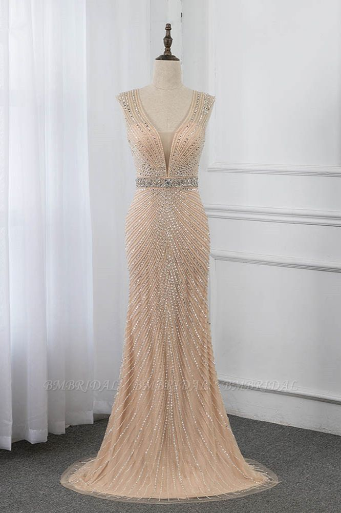 BMbridal Luxury V-Neck Beadings Mermaid Prom Dresses with Crystals On Sale