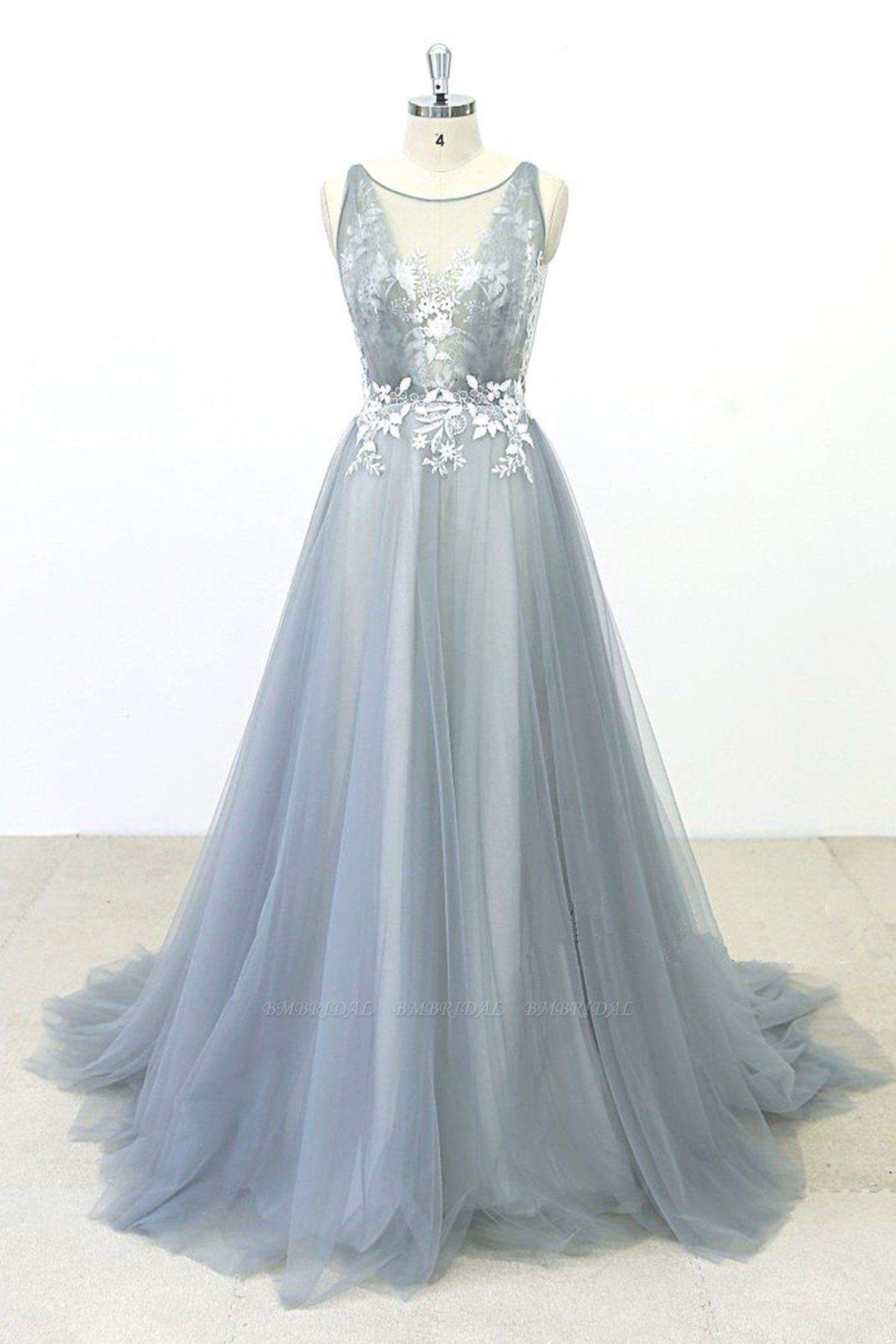 BMbridal Elegant Gray Tulle Round Neck Beach Wedding Dress Jewel Sweep Train Bridal Gowns On Sale