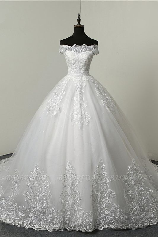 BMbridal Ball Gown White Tulle Sleeveless Wedding Dresses Off-the-Shoulder Lace Appliques Bridal Gowns