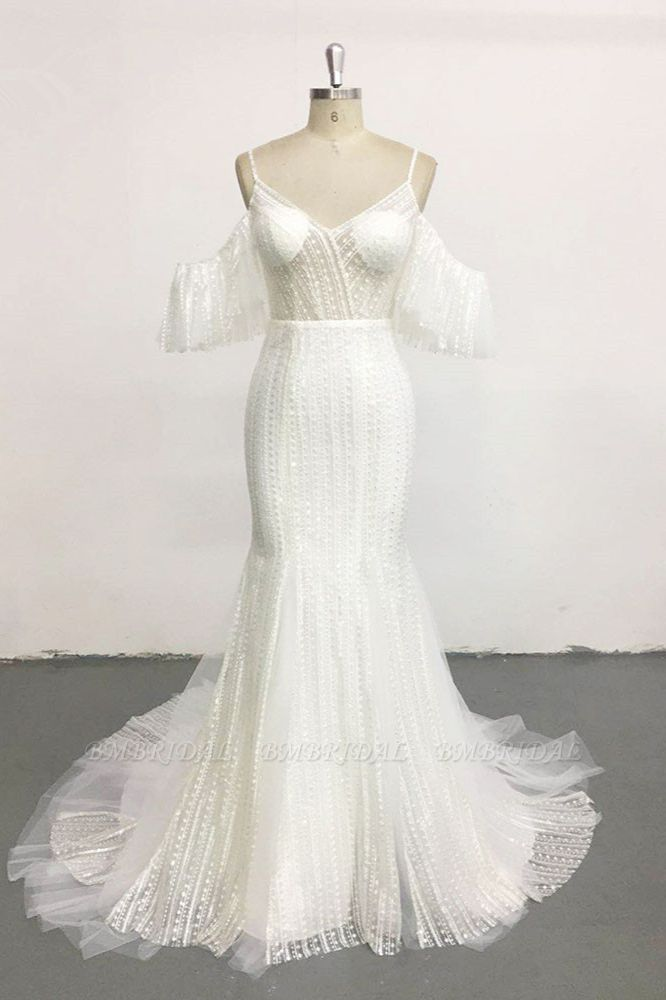 BMbridal Stylish Sleeveless V-Neck Ivory Wedding Dresses Spaghetti Straps Pearls Bridal Gowns On Sale