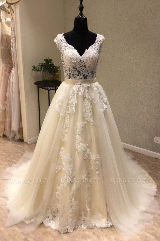 BMbridal Chic Ivory Tulle Lace V-Neck Long Wedding Dress Cap Sleeve Ivory Bridal Gowns On Sale