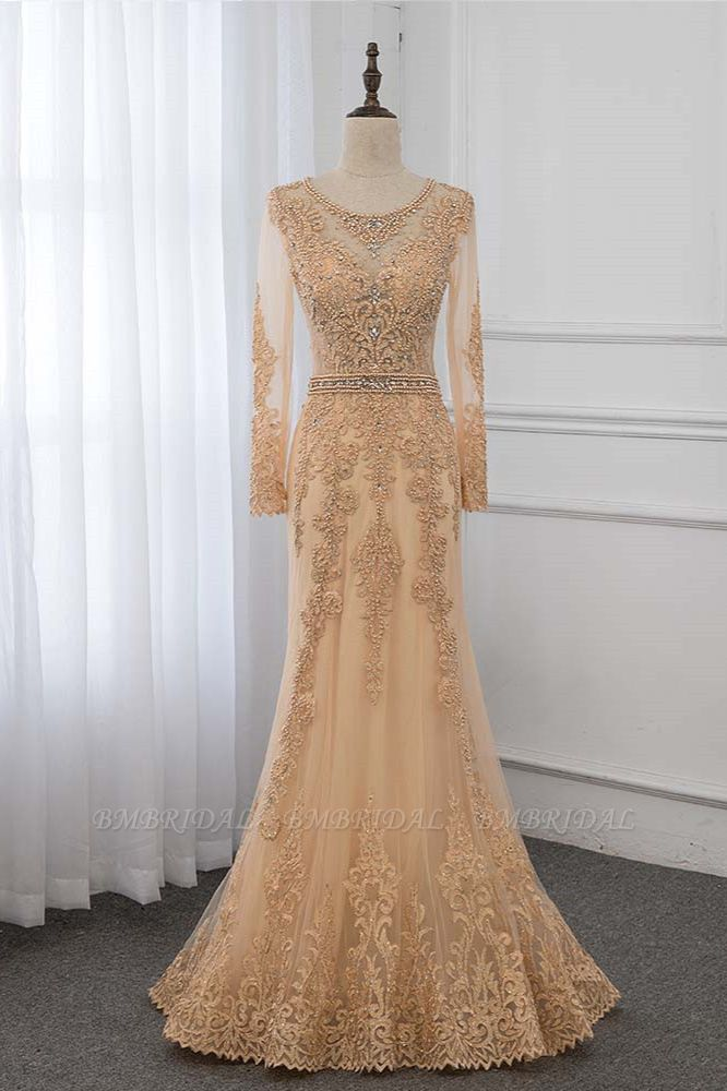 BMbridal Luxury Jewel Long Sleeves Mermaid Prom Dresses with Rhinestone Appliques Online