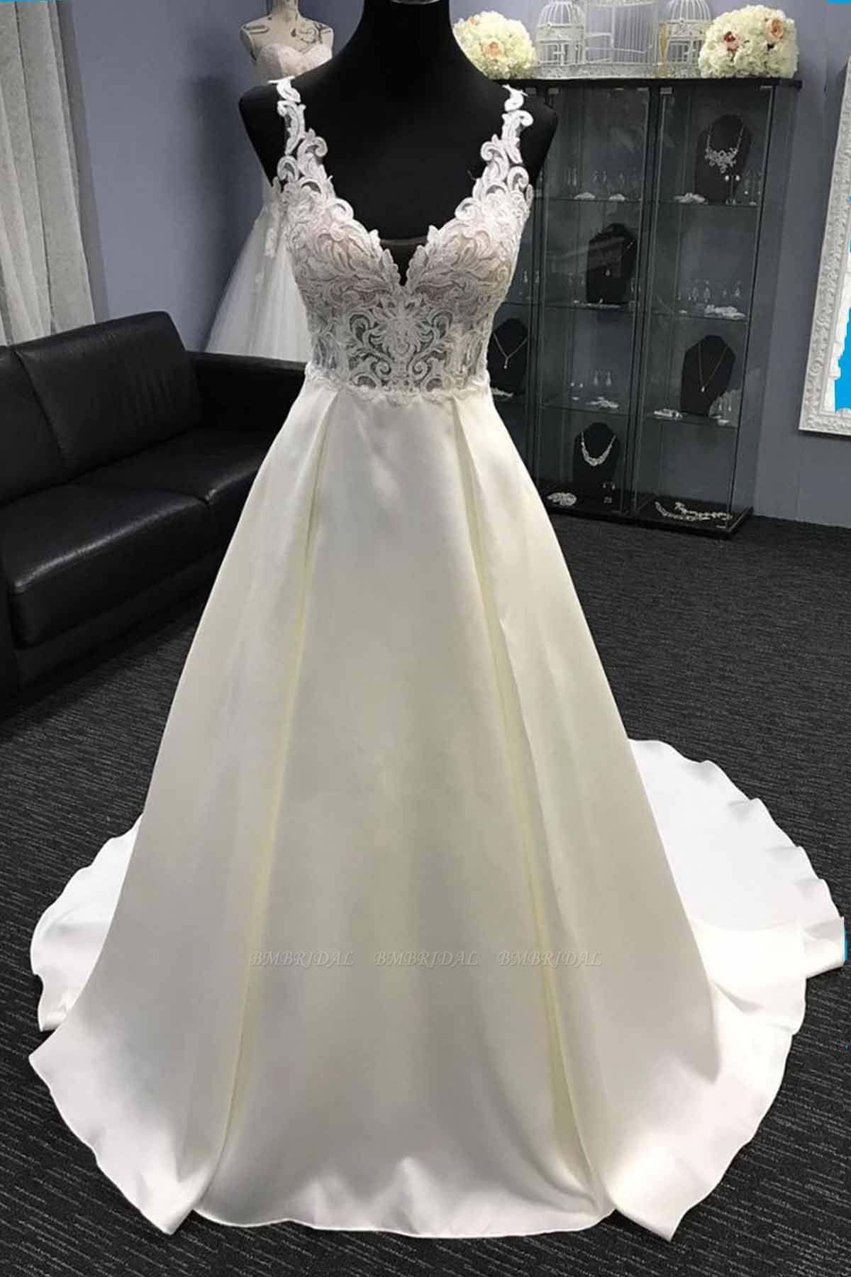 BMbridal Glamorous White Satin V-Neck Wedding Dress A-Line Halter Bridal Gowns On Sale