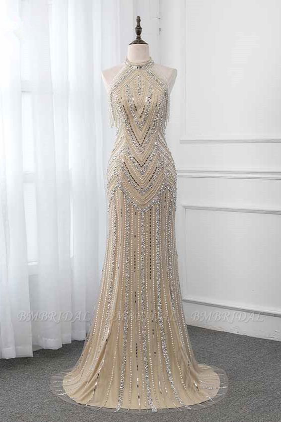 BMbridal Gorgeous High-Neck Sleeveless Mermaid Prom Dresses with Rhinestoes Online