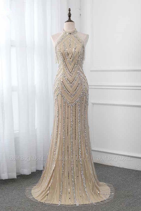 Gorgeous High-Neck Sleeveless Mermaid Prom Dresses with Rhinestoes Online