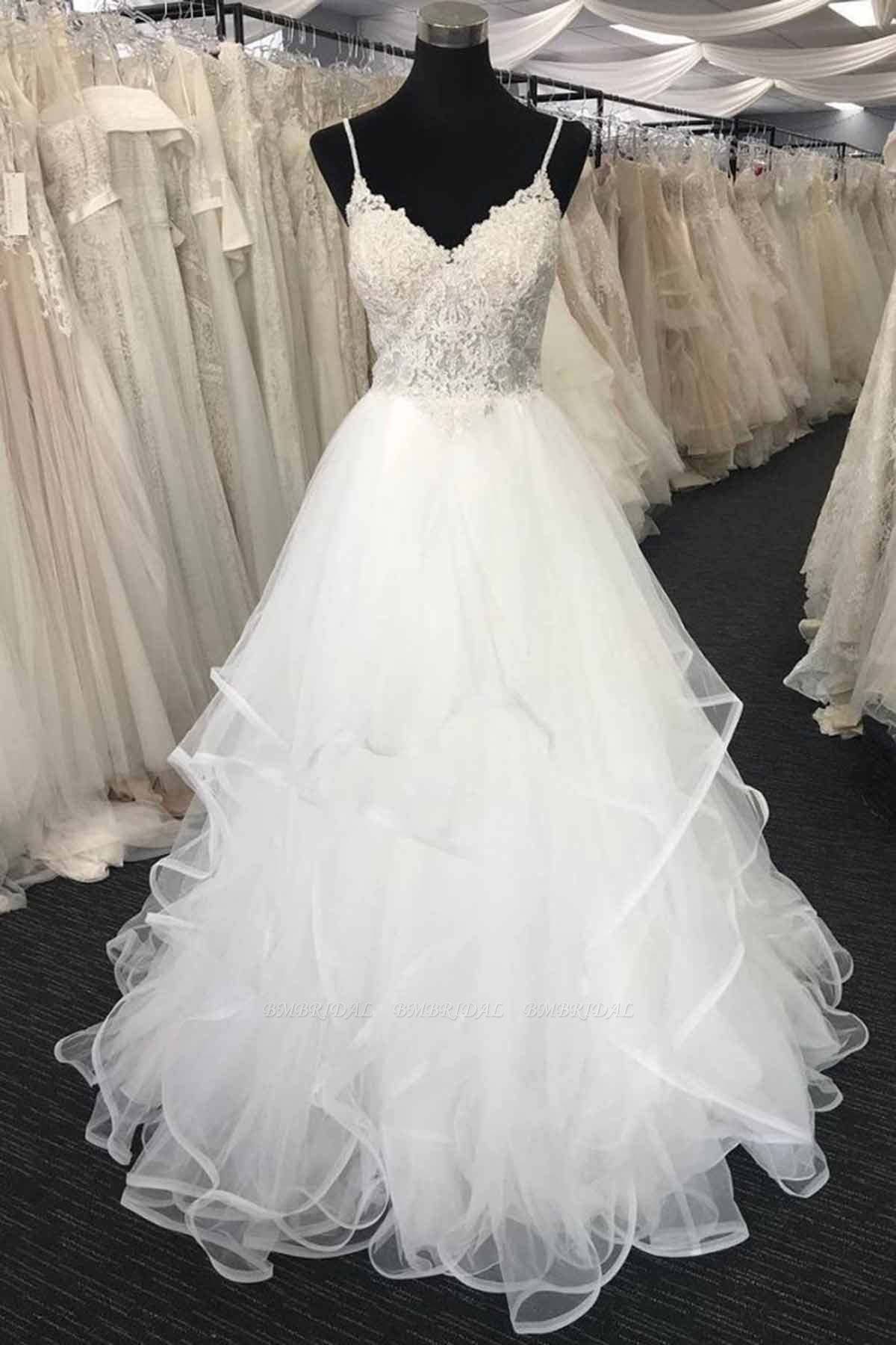 BMbridal Elegant Sweetheart Neck Long White Lace Wedding Dress Spaghetti Straps Bridal Gowns On Sale