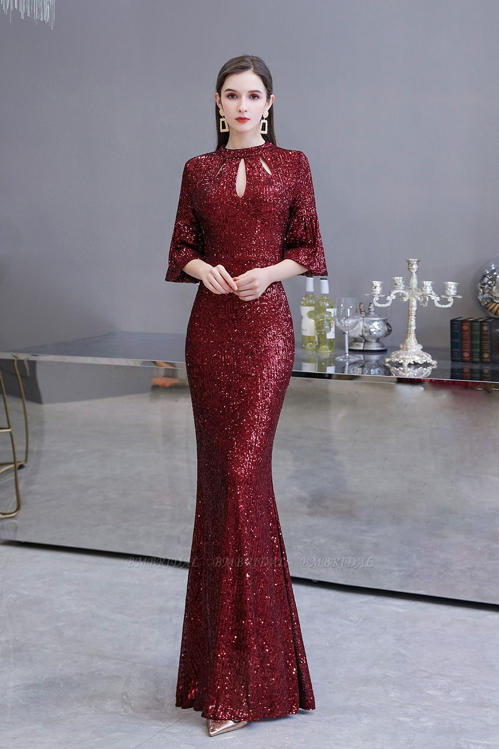 BMbridal Burgundy Half Sleeve Sequins Prom Dress Long Party Gowns Online
