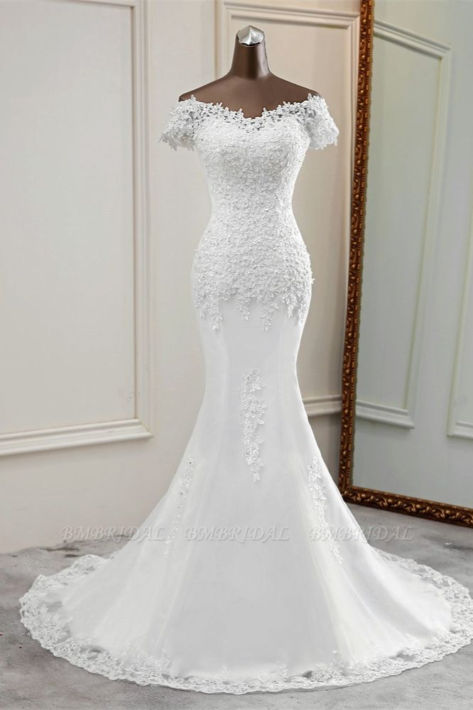 BMbridal Glamorous Sweetheart Lace Beading Wedding Dresses Short Sleeves Appliques Mermaid Bridal Gowns