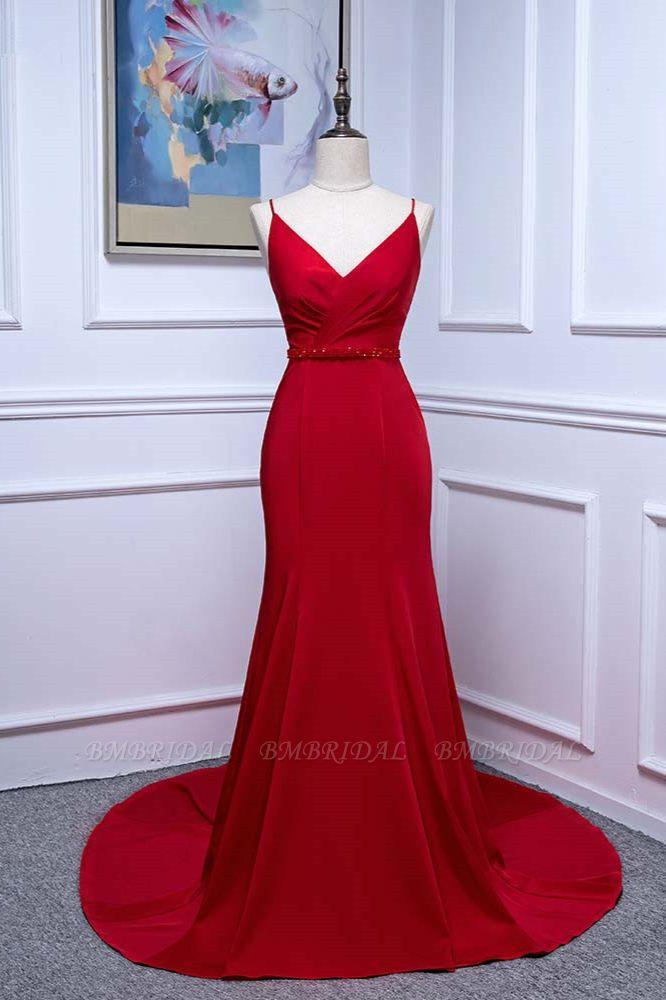 Elegant V-Neck Burgundy Prom Dresses Spaghetti Straps with Beadings Sash