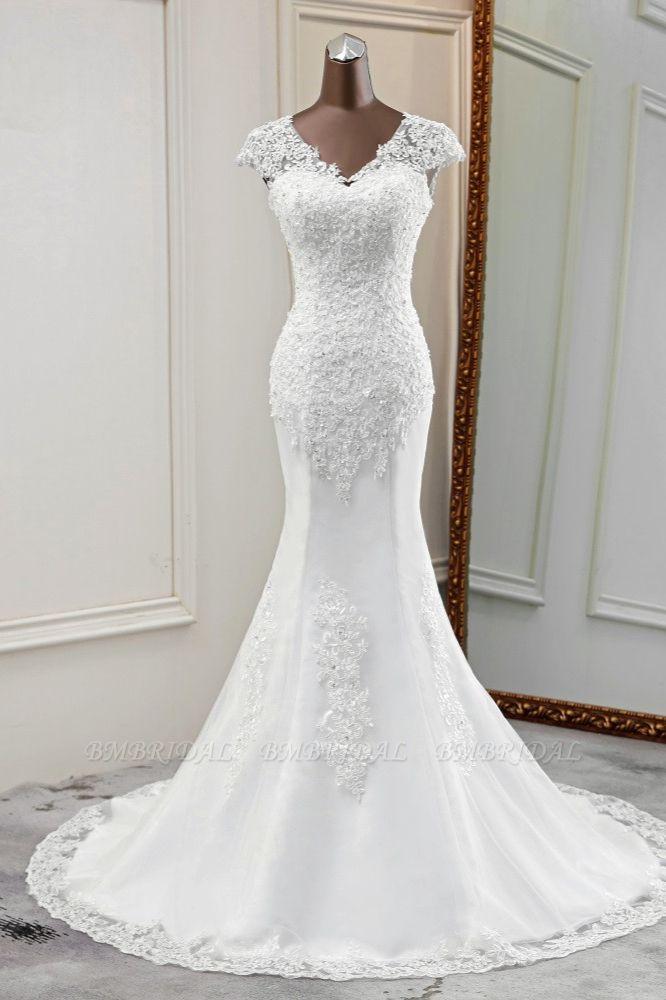 BMbridal Luxury V-Neck Sleeveless White Lace Mermaid Wedding Dresses with Appliques