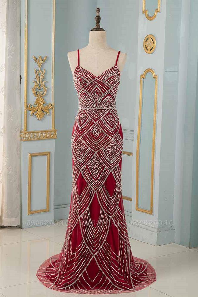 BMbridal Chic Spaghetti Straps Burgundy Mermaid Prom Dresses with Rhinestones
