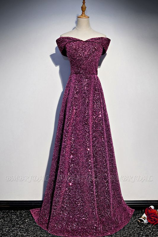 Sparkly Sequined Off-the-Shoulder Prom Dresses Sweetheart Sleeveless A-Line Evening Dresses On Sale