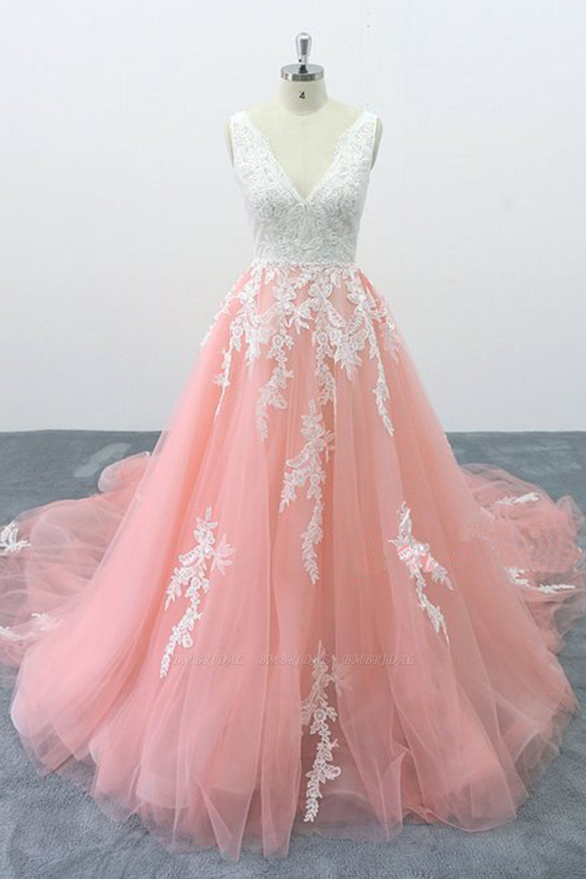 BMbridal Chic Peach Pink Tulle Lace Wedding Dress Cathedral Train Bridal Gowns On Sale