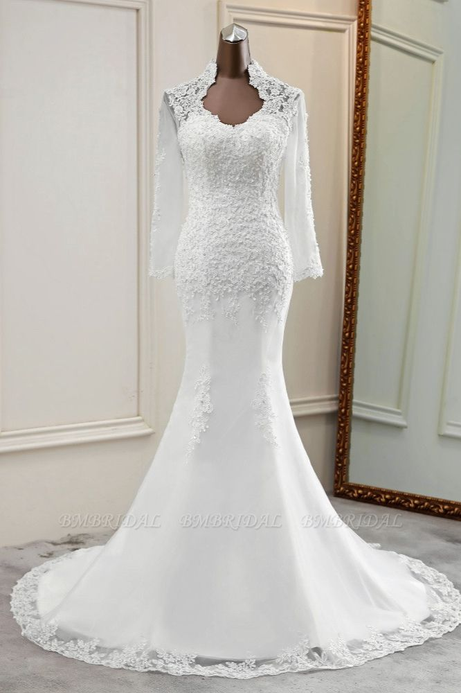 BMbridal Elegant Long Sleeves Lace Mermaid Wedding Dresses Appliques White Bridal Gowns with Beadings