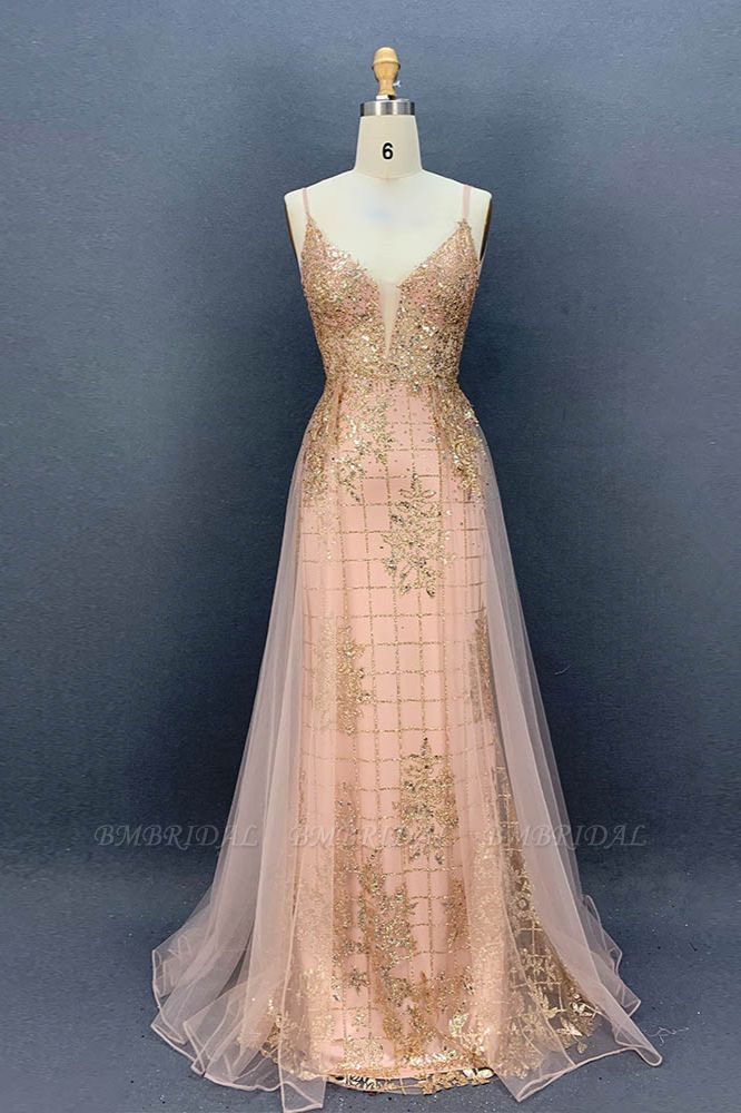 Sexy Spaghetti Straps V-Neck Prom Dresses with Gold Appliques Beadings