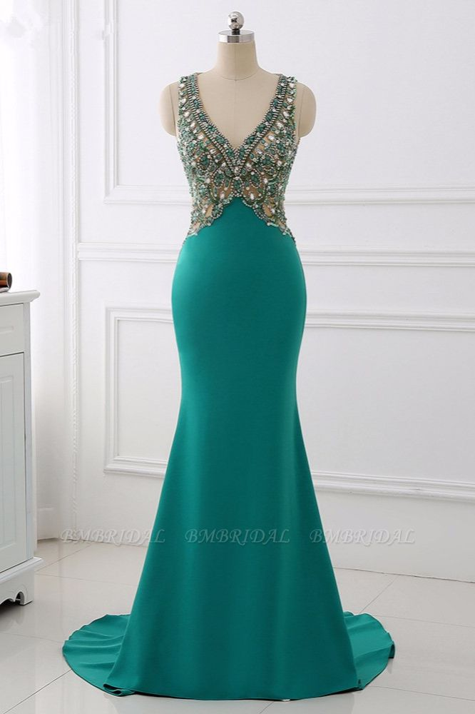Sexy V-Neck Appliques Mermaid Prom Dresses Sleeveless with Crystals On Sale
