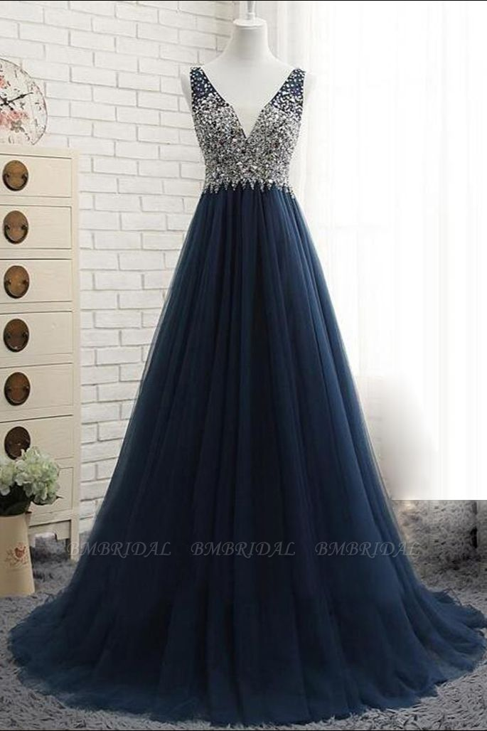 Affordable Dark Navy Tulle V-Neck Prom Dresses Ruffle Appliques beadings Party Dresses On Sale
