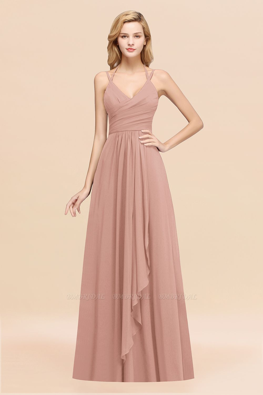 BMbridal Affordable Chiffon Burgundy Bridesmaid Dress With Spaghetti Straps