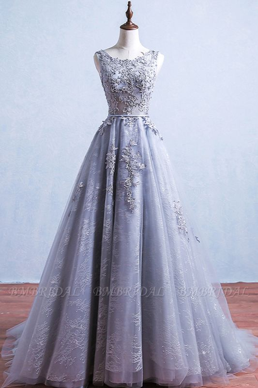 Elegant Jewel Tulle Lace Prom Dresses Sleeveless Appliques Ruffles Party Dresses On Sale