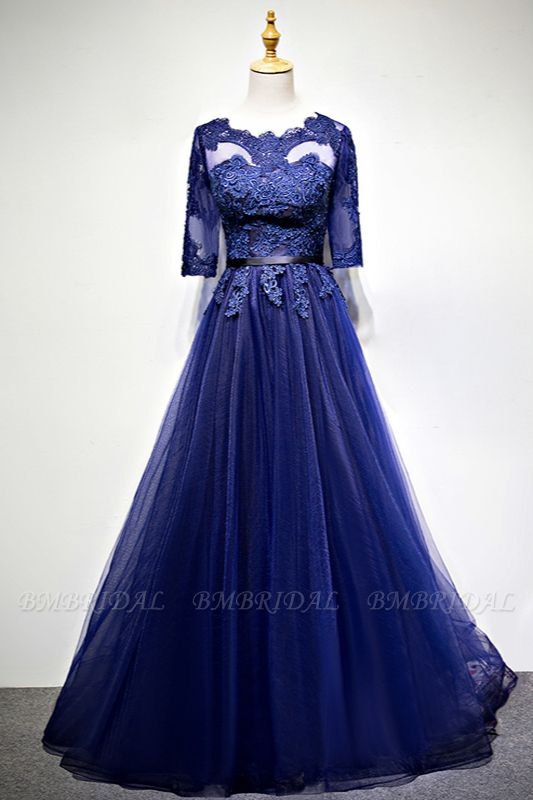 Elegant Jewel Dark Navy Tulle Ruffle Prom Dresses Long Sleeves Appliques Formal Dresses with Rhinestones