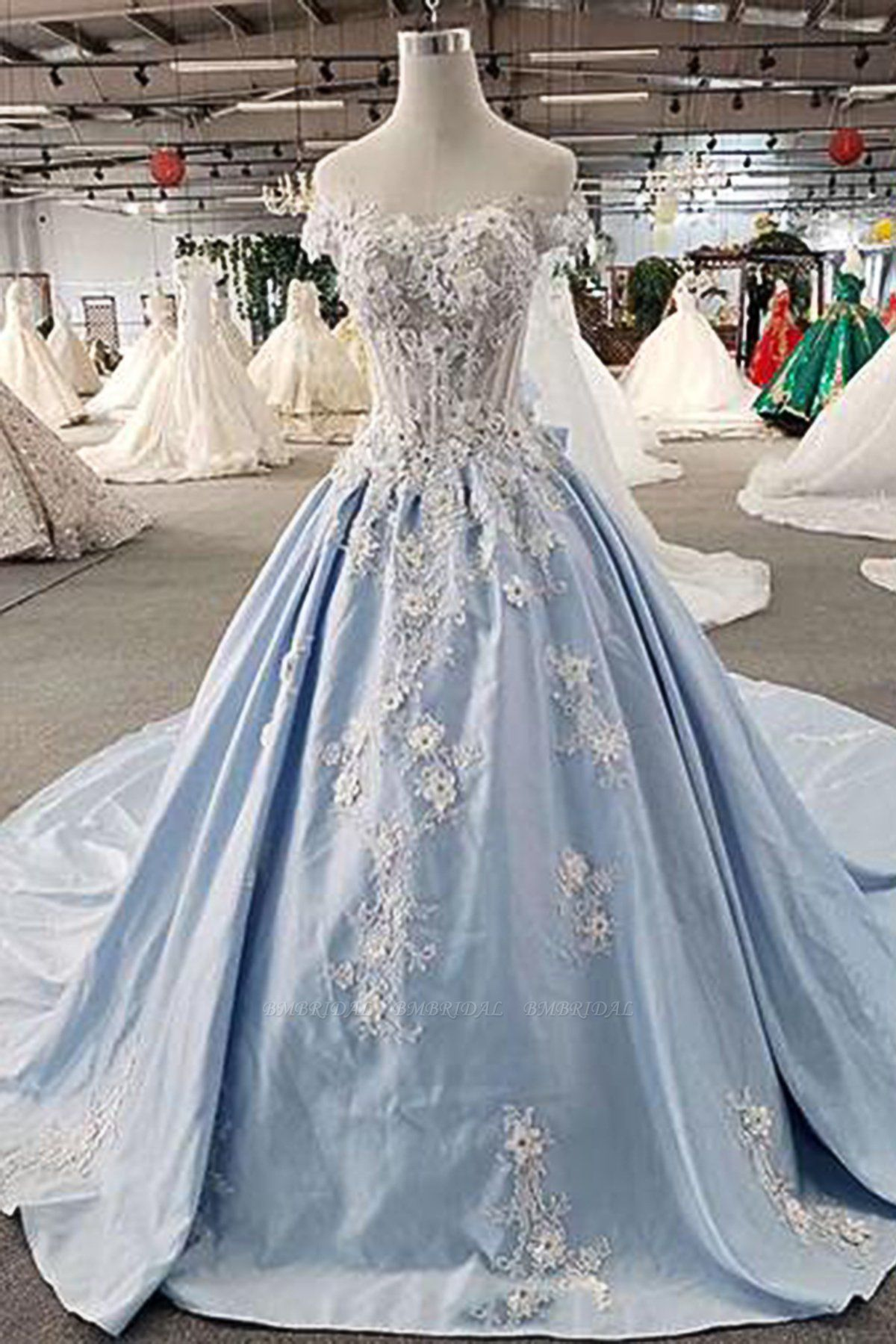 AffordableLight Blue Satin Sweep Train Wedding Dress Off Shoulder Sleeveless Bridal Gowns On Sale