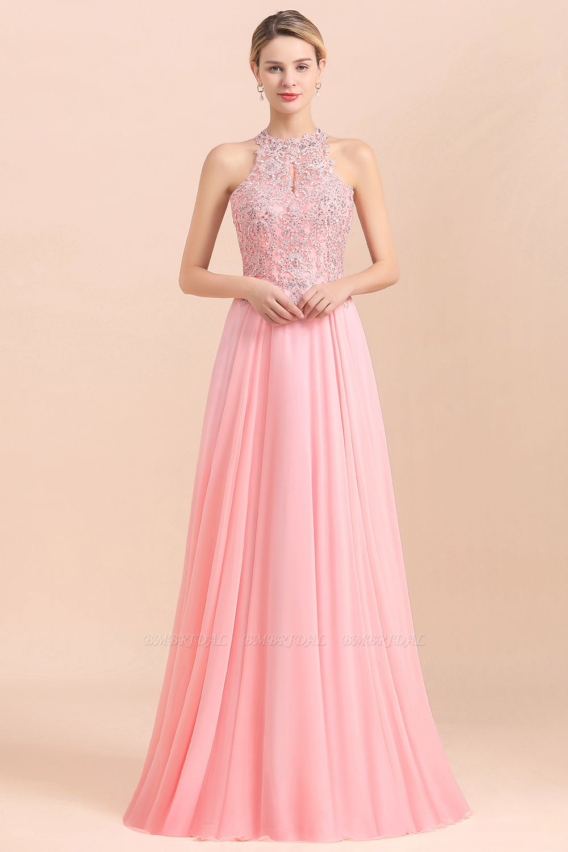 BMbridal A-line Chiffon Lace Ruffles Bridesmaid Dress with Beadings