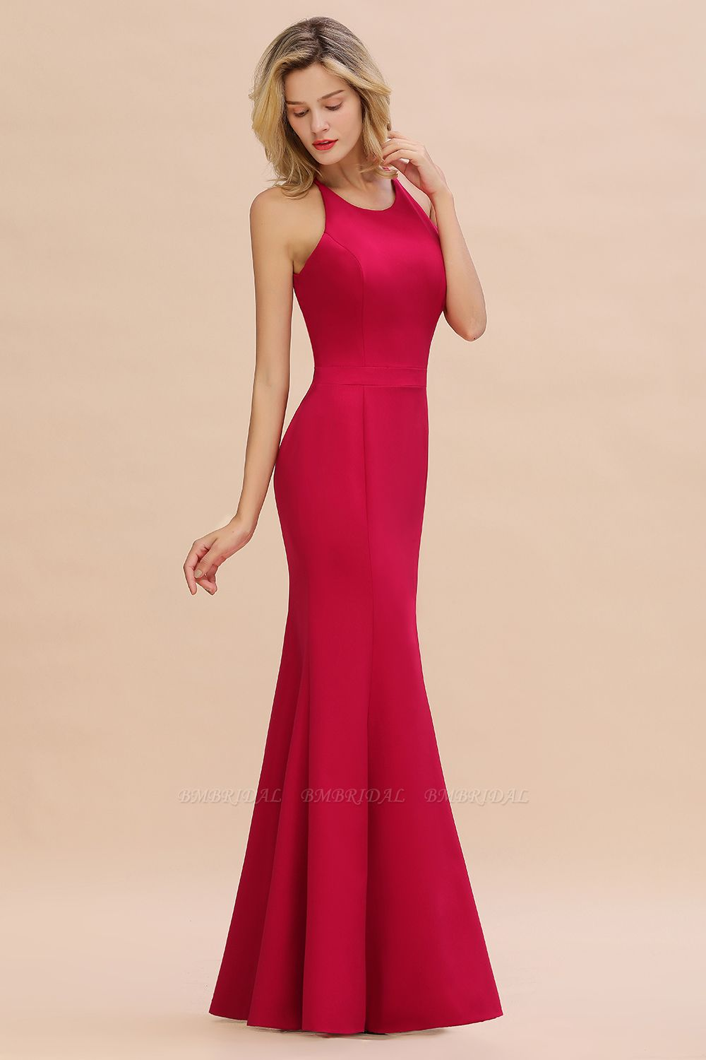 BMbridal Sexy Red Halter Mermaid Prom Dress Long Evening Gowns Online
