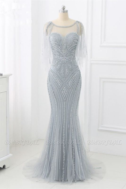Elegant Tulle Jewel Beadings Mermaid Prom Dresses with Ruffles Online