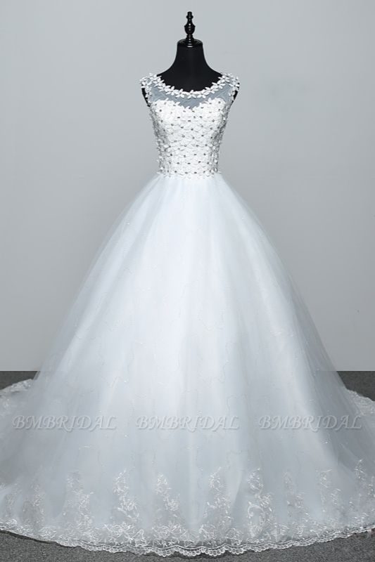 BMbridal Elegant Jewel White Tulle Ball Gown Wedding Dresses Sleeveless Appliques Bridal Gowns with Rhinestones