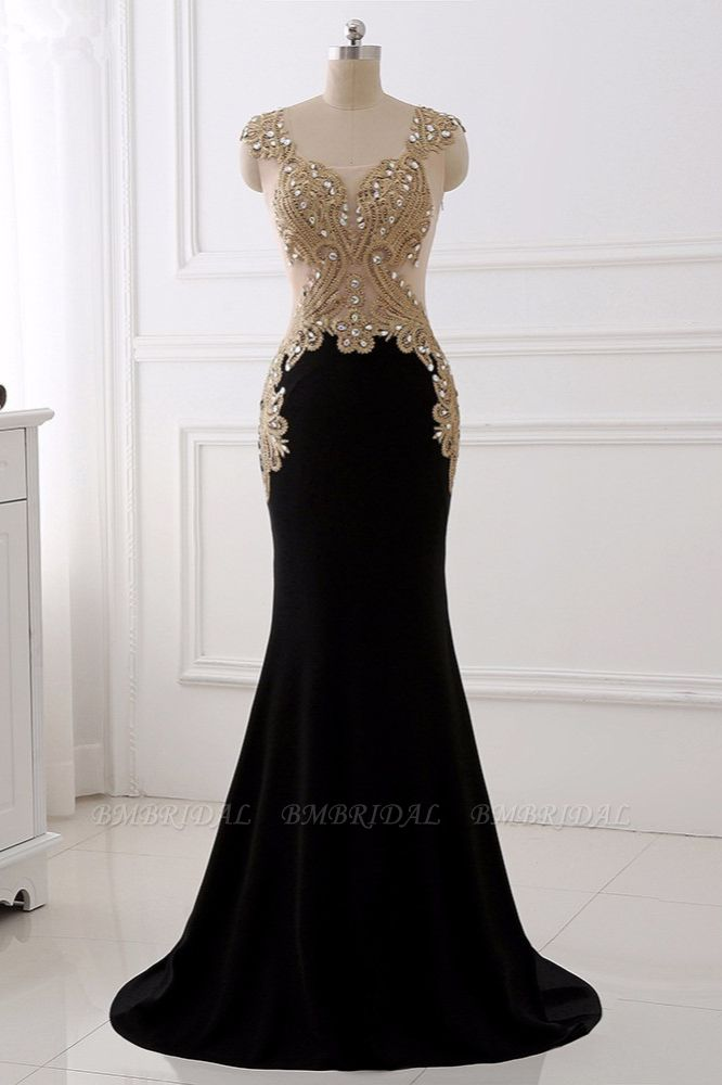 Affordabe V-Neck Sleeveless Mermaid Prom Dresses Gold Appliques with Crystals
